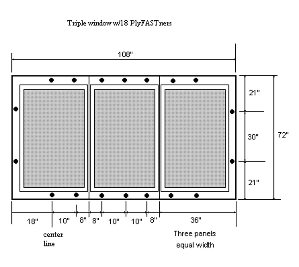 PlyFASTner Plus Hardware Layout for a Triple or Large Window
